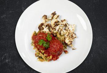 Grass-fed Italian Meatballs over Zucchini Noodles