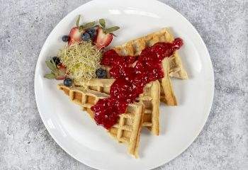 Buttermilk Protein Waffles with Strawberry Jam Compote