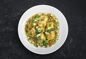 Tofu Satay with Peanut-Coconut Thai Sauce Over Zoodles