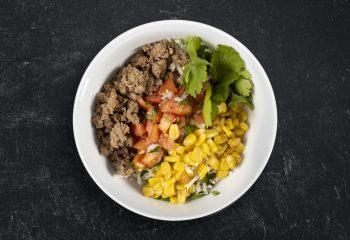Turkey Taco Burrito Bowl Over Cilantro-Lime Jasmine Rice